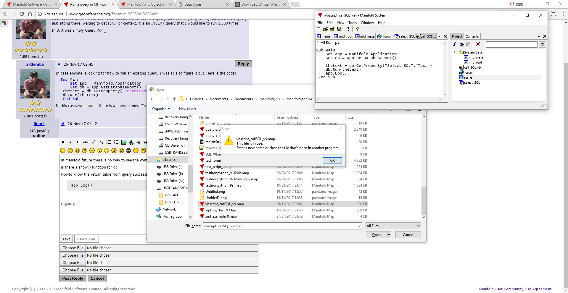 Run a query in MF from VBScript